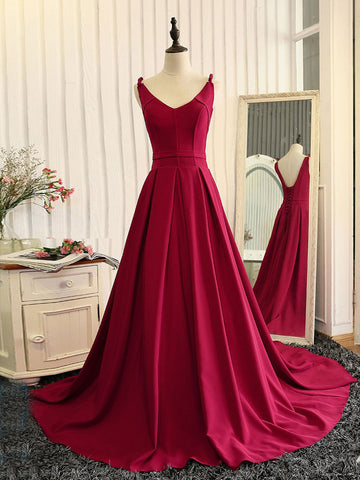 Chic A-line V-neck Satin Burgundy Simple Modest Prom Dress Evening Gown SKA043