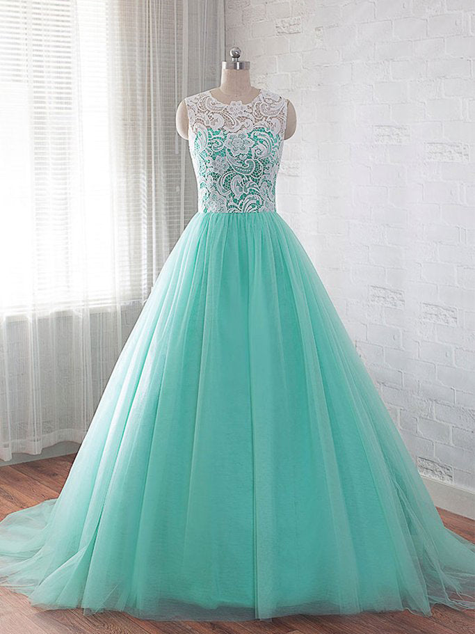 Charming A-line Scoop Tulle Green Prom Dress Evening Drsess SKA046