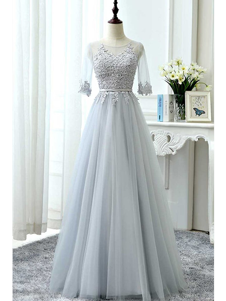 A-line Scoop Floor Length Tulle Prom Dress Evening Drsess With Lace SKA047