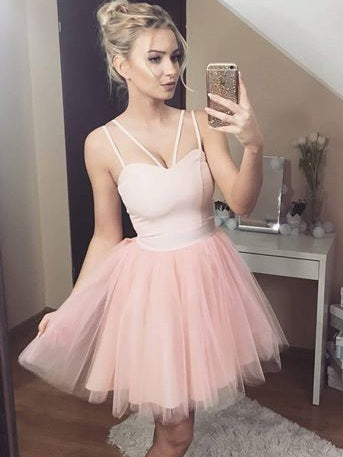 A-line Spaghetti Straps Pink Homecoming Dress Short Prom Drsess SKA049
