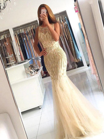 Trumpet/Mermaid Scoop Floor Length Tulle Prom Dress Evening Drsess With Beading SKA050