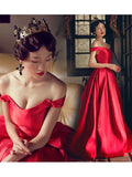 A-line Off-the-shoulder Floor-Length Satin Red Prom Dress Evening Drsess SKA053