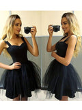 A-line Straps Black Homecoming Dress Short Prom Drsess SKA061