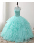 A-line Ball Gown Green Prom Dress Chic Evening Dress Formal Dress SKA062