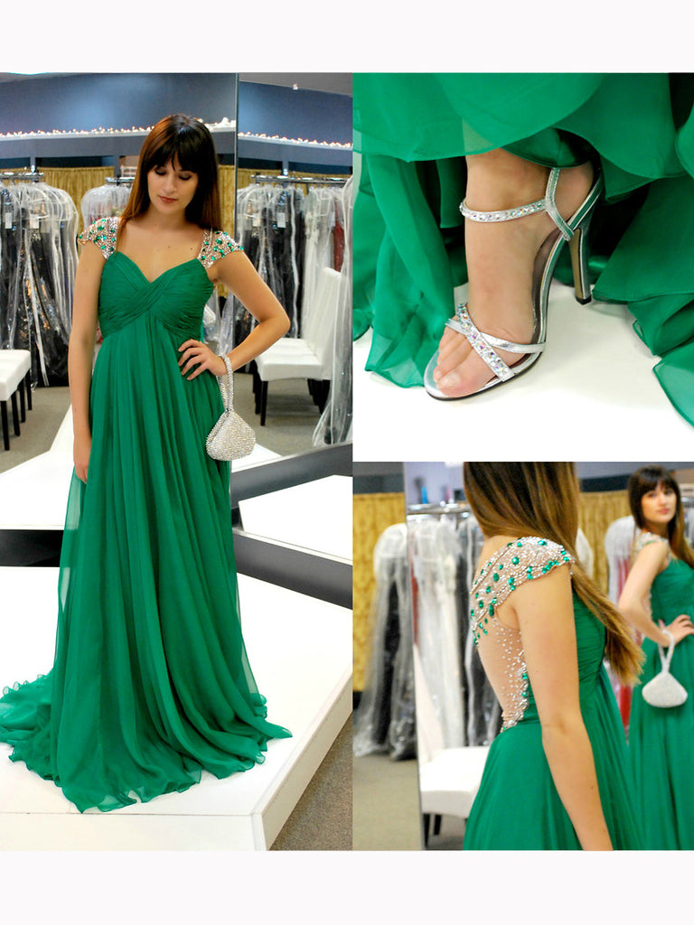 Chic A-Line Straps Hunter Chiffon Modest Beading Prom Dress Evening Gowns SKA063