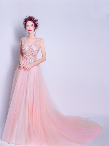 Chic A-line Tulle V-neck Sleeveless Pink Applique Long Prom Dress Evening Gowns SKA065
