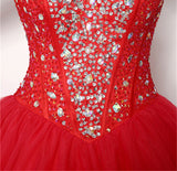 Chic A-line Ball Gowns Red Tulle Sweetheart Sleeveless Rhinestone Long Prom Dress Evening Gowns SKA066