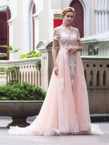 Chic A-line Scoop Pearl Pink Tulle Short Sleeve Applique Long Prom Dress Evening Gowns SKA069