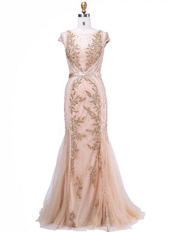 Sheath/Column Chic Prom Dress Champagne Tulle Scoop Short Sleeve Evening Gown Dresses SKA072