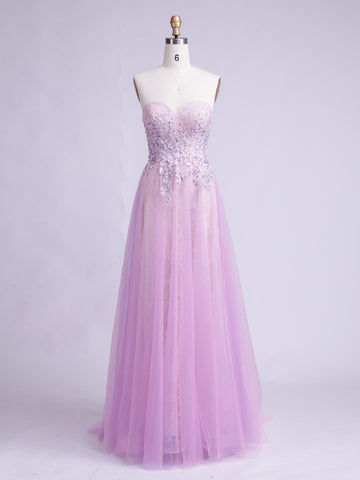 2017 Chic Long Prom Dress Lilac Sweetheart Tulle Evening Gown Dresses SKA073