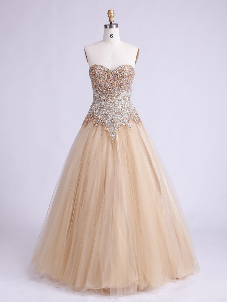 A-line Ball Gown Sweetheart Prom Dress Champagne Evening Dress Formal Dress SKA075