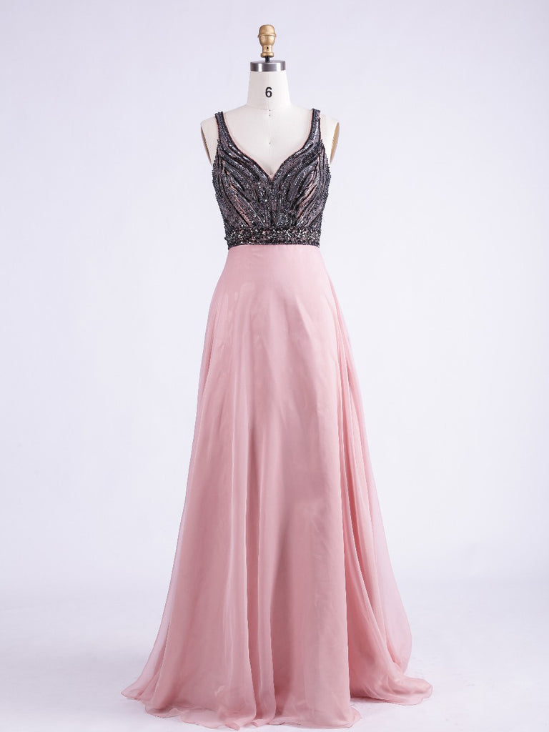 A-line Straps Pink Prom Dress Evening Dress Formal Dress With Beading SKA076