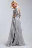 2017 A-line Chic Prom Dress Silver Bateau Chiffon Evening Party Dress SKA077