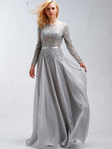 A-line Chic Prom Dress Silver Bateau Chiffon Evening Party Dress SKA077