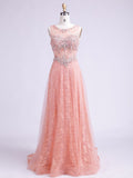 A-line Scoop Pearl Pink Prom Dress Evening Dress Formal Dress With Lace SKA078