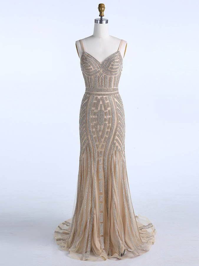 Sheath/Column Straps Champagne Prom Dress Evening Dress Formal Dress With Beading SKA079