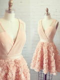 Charming A-line V-neck Pearl Pink Homecoming Dress Short Prom Drsess SKA085