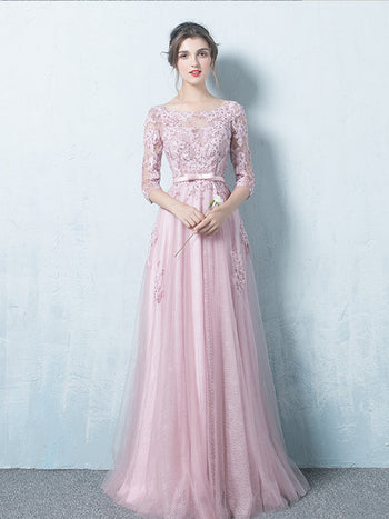 Charming Long Prom Dress Chic A-line Scoop 3/4 Sleeve Pink Tulle Evening Dress SKA088