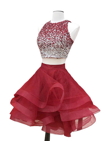 Two Pieces Homecming Dress A-line Straps Burgundy Organza Short Prom Drsess SKA088