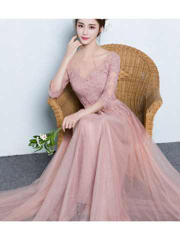 Charming Long Prom Dress Chic A-line Scoop Half Sleeve Pink Tulle Evening Dress SKA089