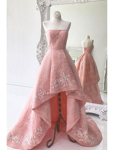 A-line High Low Strapless Pink Prom Dress Evening Dress Formal Dress With Lace SKA089
