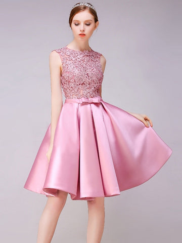 Modest A-line Homecoming Dress Pink Scoop Satin Short Prom Dress SKA090