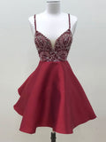 Burgundy Homecming Dress A-line Straps Satin Short Prom Drsess SKA090