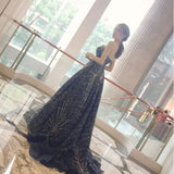 Chic A-line Ball Gown Prom Dress,Dark Blue Organza V-Neck Rhinestone Evening Dress Party Dress SKA091