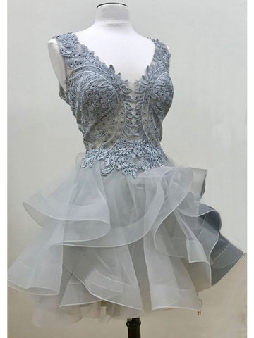 A-line V-neck Organza Homecming Dress Short Prom Drsess With Beading SKA091