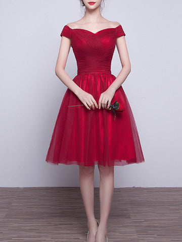 Simple A-line Homecoming Dress Burgundy Off-the-shgoulder Tulle Short Prom Dress SKA092