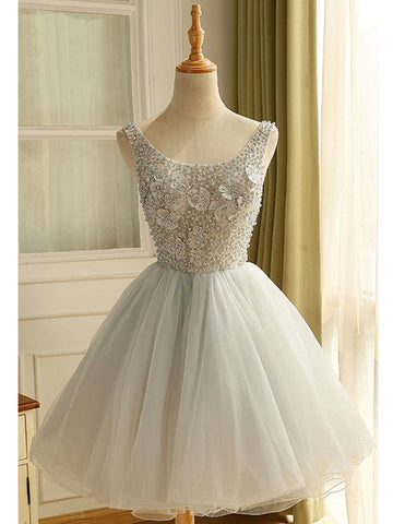 A-line Scoop Tulle Homecming Dress Short Prom Drsess With Beading SKA092