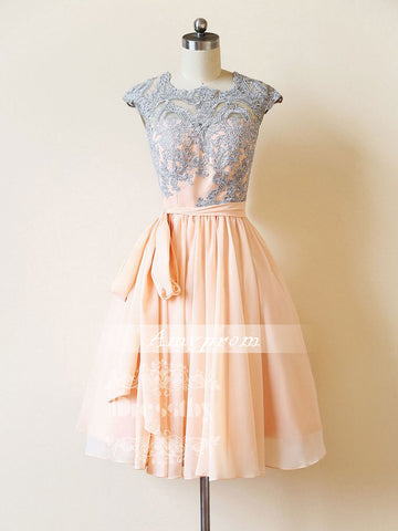 A-line Rearl Pink Homecoming Dress Square Chiffon Short Prom Dress With Lace SKA093