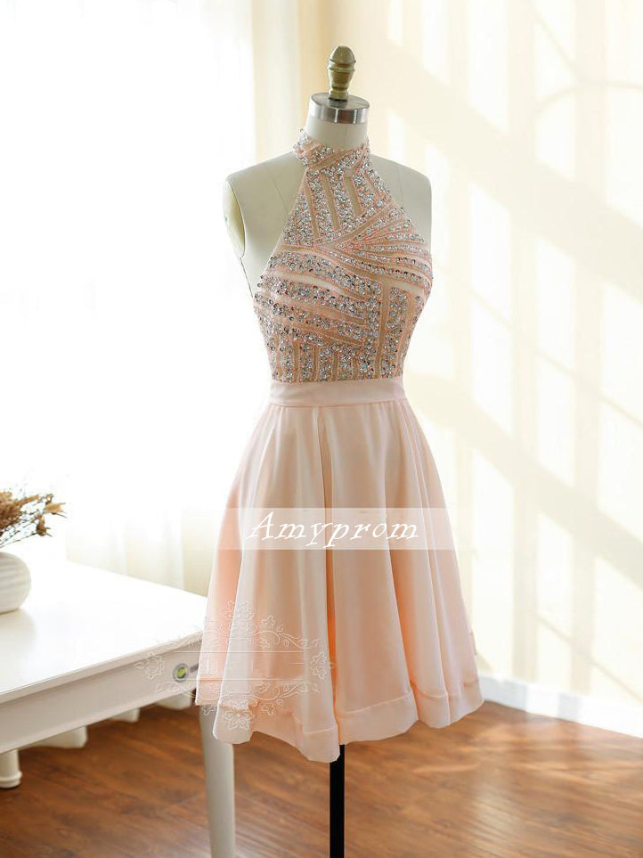 A-line Rearl Pink Homecoming Dress High Neck Chiffon Short Prom Dress With Beading SKA094