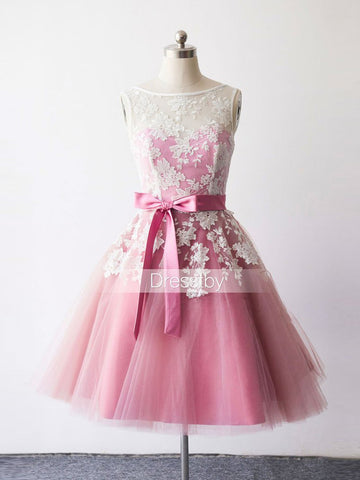 A-line Pink Homecoming Dress Bateau Tulle Short Prom Dress With Lace SKA095