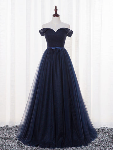 2017 Chic Prom Dresses Long Dark Navy Off-the-shoulder Tulle Cheap Evening Dress SKA096