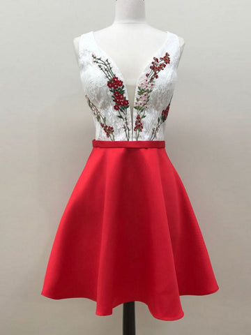 Charming A-line Straps Red Homecoming Dress Short Prom Drsess With Lace SKA096