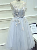 2017 Chic Homecoming Dress A-line Scoop Blue Tulle Short Prom Dress SKA097