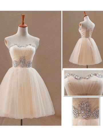 Charming A-line Homecoming Dress Sweetheart Short Prom Dress With Beading SKA098