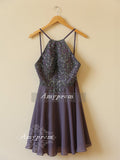 Charming A-line Homecoming Dress Spaghetti Straps Short Prom Dress With Rhinestone SKA100