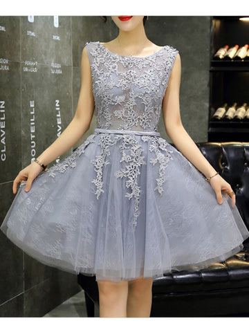 2017 Chic Homecoming Dress A-line Scoop Gray Tulle Short Prom Dress SKA101
