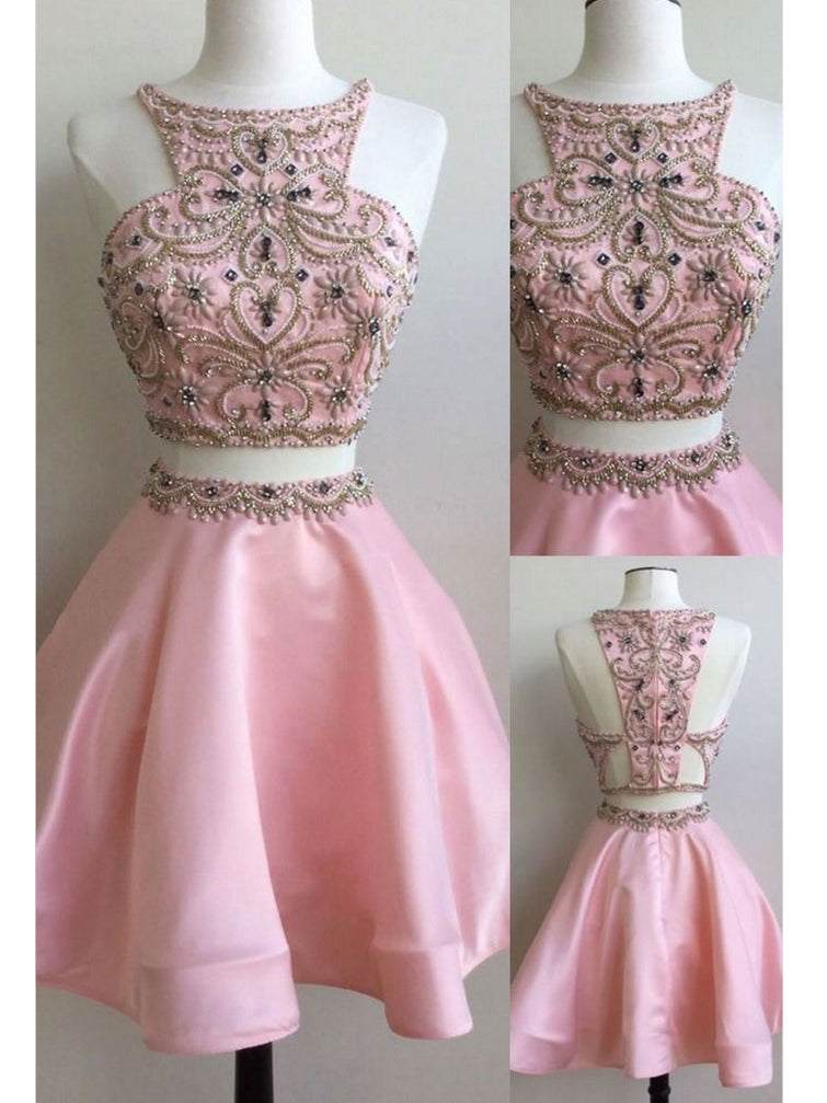 Two Pieces A-line Homecoming Dress Scoop Pink Short Prom Dress SKA103