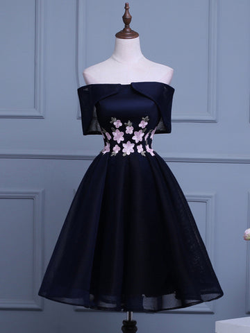2017 Chic Homecoming Dress A-line Off-the-shoulder Dark Navy Tulle Short Prom Dress SKA106