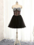 A-line Sweetheart Homecoming Dress Black Tulle Short Prom Dress SKA110