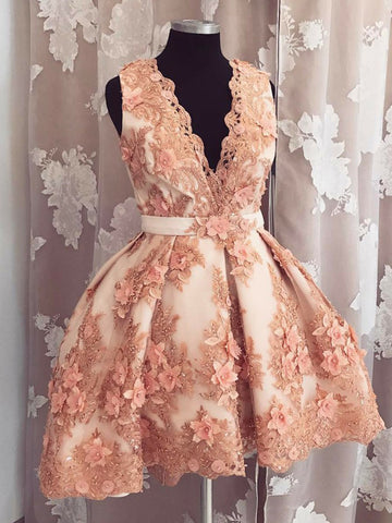 A-line V-neck Homecoming Dress Pearl Pink Tulle Short Prom Dress SKA111