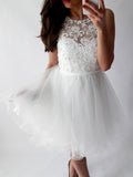 A-line Scoop Homecoming Dress White Appliques Tulle Short Prom Dress SKA116