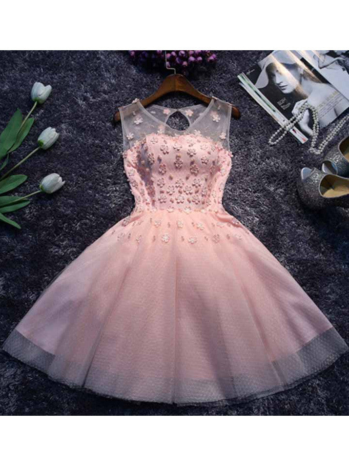 A-line Homecoming Dress Scoop Short/Mini Prom Drsess Juniors Homecoming Dresses SKY006