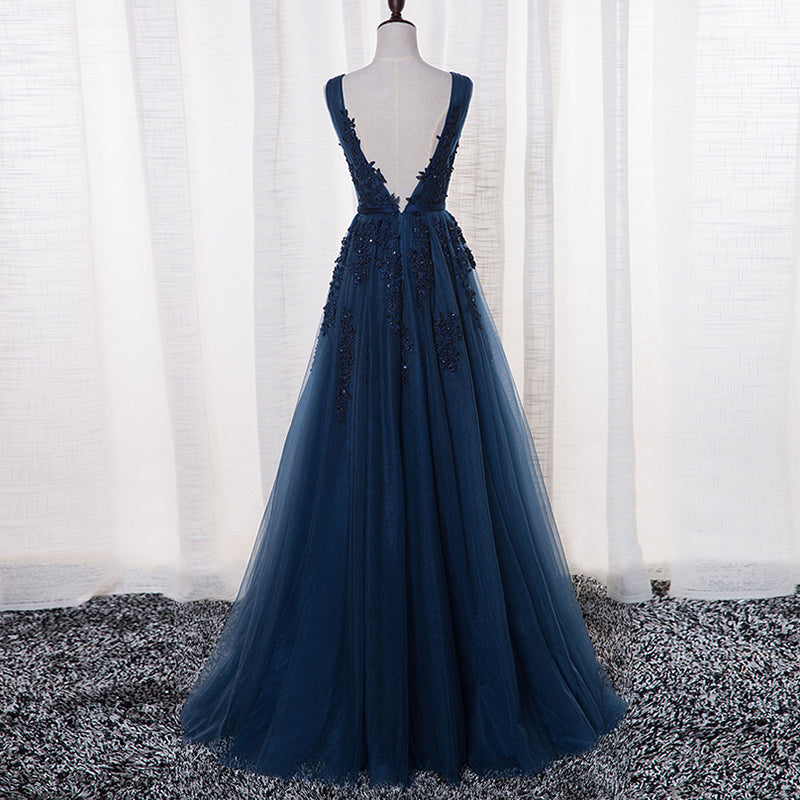 ef077ff1d40 ... A-Line V-neck Floor length Tulle Prom Dress Evening Dress With Appliques  ...