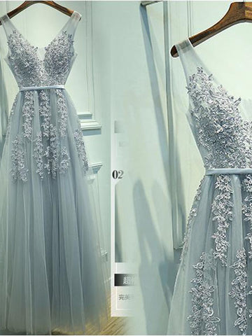 A-Line V-neck Floor length Tulle Prom Dress/Evening Dress With Appliques SKY024
