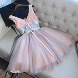 Pink Homecoming Dress V-neck Short Prom Dresses Juniors Homecoming Dresses SKY025