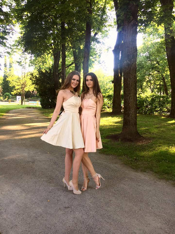 A-line Bridesmaid Dresses Straps Taffeta Short Bridesmaid Dresses SKY027